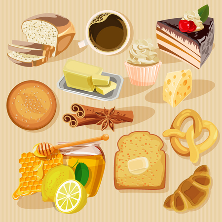 Set of pies and flour products from bakery or pastry shop. Buns, baguettes, bread, pastries, and other baked goods. Illustration
