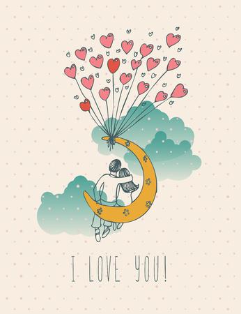 ビンテージ ローライズ デザインでバレンタインデーのグリーティング カード。私は大好きこのレトロなメモです。手描きスタイル。
