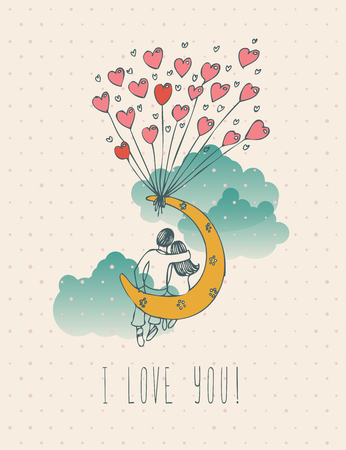 Valentines day greeting card in vintage hipster design. I love you retro note. Hand drawn style. Vettoriali