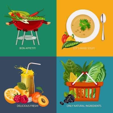 soup: Advertisement set of concept banners with vegetable and fruits icons for vegetarian restaurant