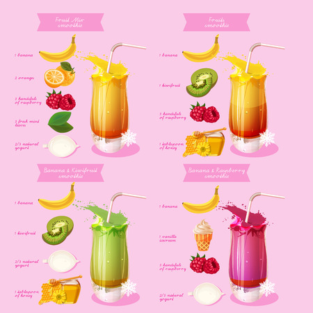 raw: Smoothie recipe. Menu element for cafe or restaurant with energetic fresh drink.