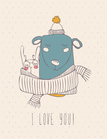 married couples: Valentines day greeting card in vintage hipster design. I love you retro note. Hand drawn style. Illustration