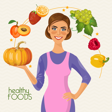 健康的なライフ スタイル、健康的な食事の日常。料理のポスター