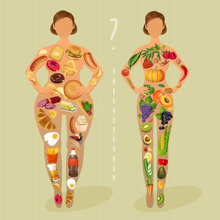 healthy woman: Healthy lifestyle, a healthy diet and daily routine. Diet. Choice of girls: being fat or slim. Healthy lifestyle and bad habits.