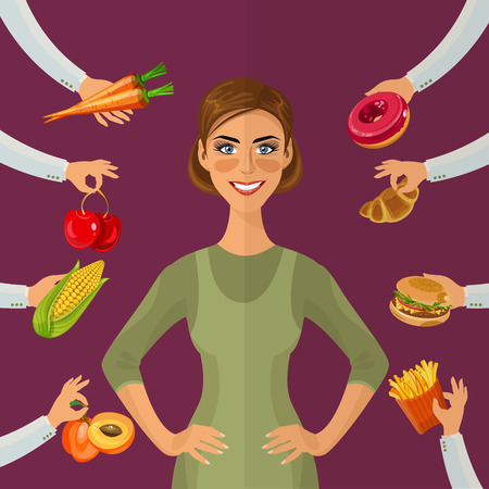 bad diet: Healthy lifestyle, a healthy diet and daily routine. Diet. Choice of girls: being fat or slim. Healthy lifestyle and bad habits.