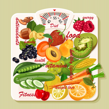 overeating: Vector illustration of vitamin groups. Fruit and vegetables set. Illustration