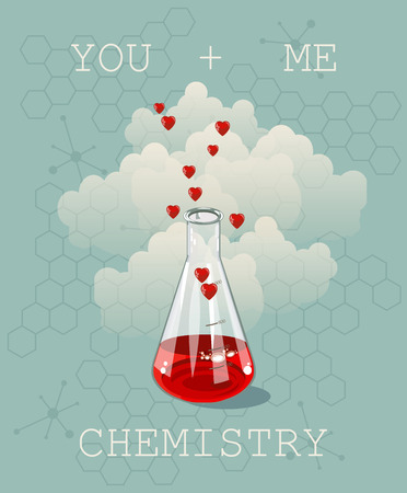 Invitation card on background. Vector illustration for Valentines day or wedding. Vector illustration of chemistry flask filled with hearts. Chemistry and love