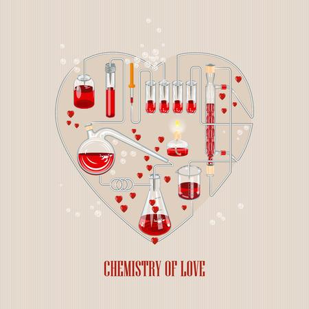 Tarjeta de invitación en el fondo. ilustración vectorial para el día de San Valentín o de la boda. Ilustración del vector de la química matraz lleno de corazones. La química y el amor Ilustración de vector
