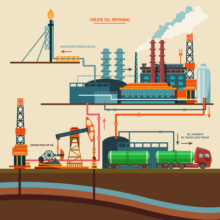 Oil recovery, oil rig, oil industry set with extraction refinery transportation petroleum vector illustration