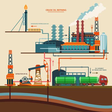 refinería de petróleo: la recuperación de petróleo, plataforma petrolera, aparato de la industria petrolera con la refinería de extracción de ilustración vectorial de transporte de petróleo