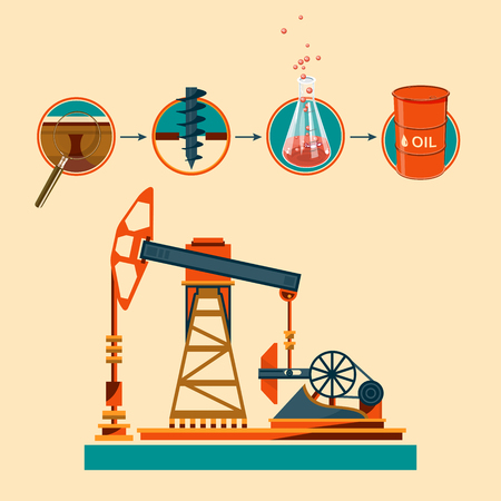 oilwell: Pumpjack and Working Oil Pumps and Drilling Rig, Oil Pump, Petroleum Industry, Vector Illustration