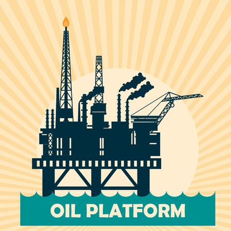 manifold: Offshore oil platform design concept set with petroleum. Helipad, cranes, derrick, hull column, lifeboat, workshop, manifold, gas lift module.