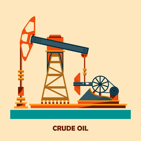 drilling rig: Pumpjack and Working Oil Pumps and Drilling Rig, Oil Pump, Petroleum Industry, Vector Illustration