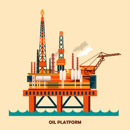 Offshore oil platform design concept set with petroleum. Helipad, cranes, derrick, hull column, lifeboat, workshop, manifold, gas lift module.