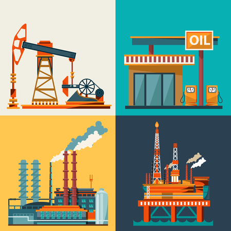 power distribution: Oil industry business concept of gasoline diesel production fuel distribution and transportation icons composition illustration