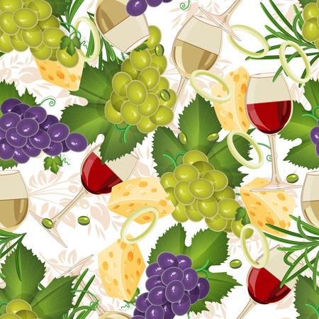 onions: Seamless pattern with fruit organic food, glasses, wine, grapes. Seamless background with cucumber, onions, tomato. illustration Illustration