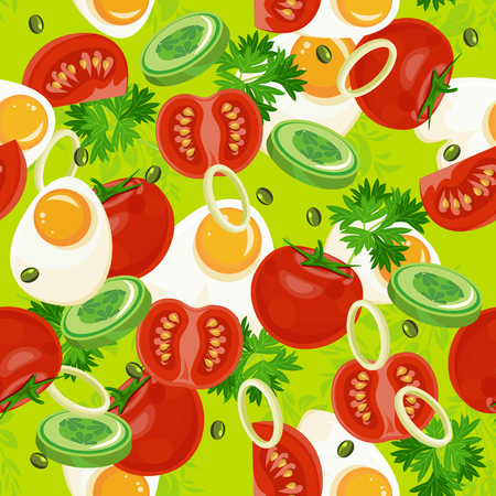 brown egg: Seamless pattern with vegetable organic food. Seamless background with cucumber, onions, tomato. illustration Illustration
