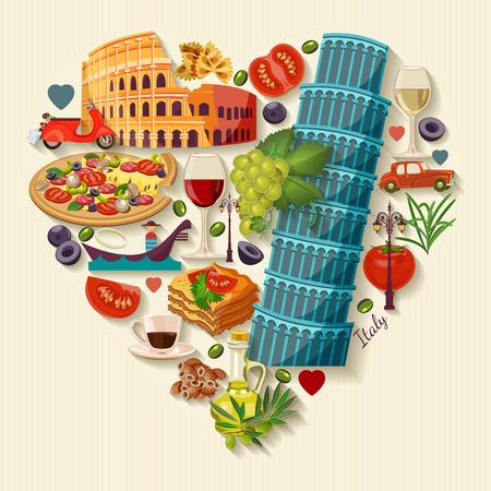 comida italiana: Italia amor - la forma del corazón con los iconos. Estilo vintage. Concepto del recorrido