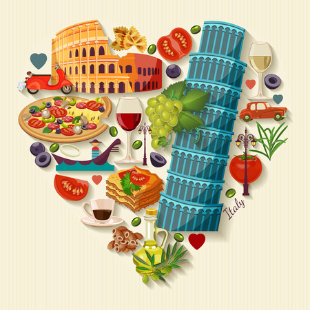 italian: Italy love - heart shape with icons. Vintage style. Travel Concept Illustration