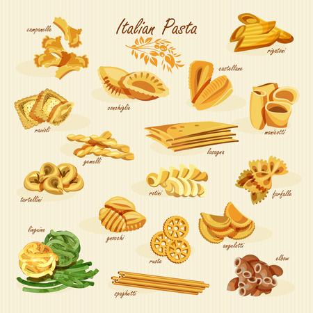 Poster set of pasta with different types of pasta: fusilli, spaghetti, gomiti rigati, farfalle, rigatoni, ravioli, tortiglioni, cellentani, penne, in retro style on a wooden background.