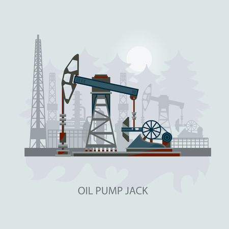 oilwell: Pump jack in the Background of Fir Trees and Working Oil Pumps and Drilling Rig, Oil Pump, Petroleum Industry. Flat design. Illustration