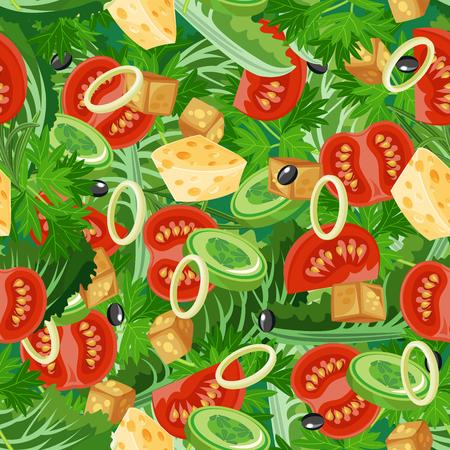 ensalada tomate: Patrón sin fisuras con los alimentos vegetales orgánicos. De fondo sin fisuras con el pepino, cebolla, tomate. ilustración Vectores