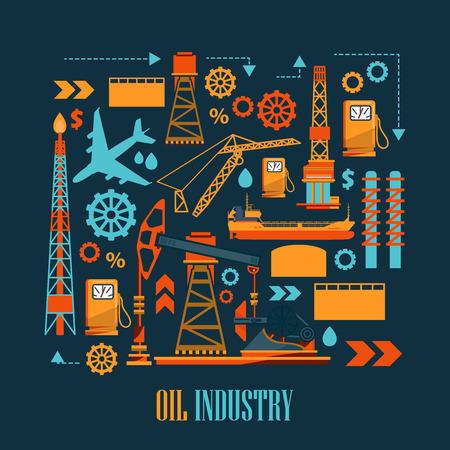 ensemble industriel avec de l'huile et de l'essence icônes. Extraction et raffinage des installations. Vecteurs