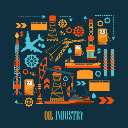 oilwell: Industrial set with oil and petrol icons. Extraction and refinery facilities.