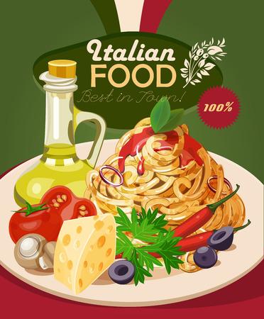 イタリア料理。パスタ、スパゲッティ、オリーブ オイル。ビンテージ スタイルのポスター。  イラスト・ベクター素材