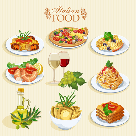 pizza ingredients: Set of food icons isolated on white background. Italian cuisine. Spaghetti with pesto, lasagna, penne pasta, pizza, olive oil, macaroni and cheese, red and white wine in glasses, prawns Illustration