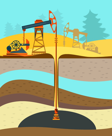 Pump jack in the Background of Fir Trees and Working Oil Pumps and Drilling Rig, Oil Pump, Petroleum Industry. Flat design. Illustration