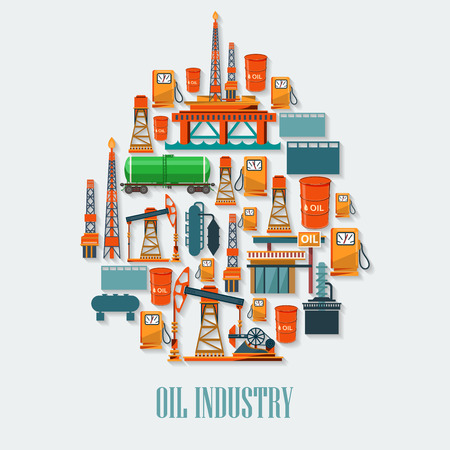 Industrial set with oil and petrol icons. Extraction and refinery facilities.