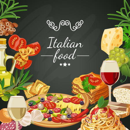 Food on chalkboard background. Italian cuisine. Spaghetti with pesto, lasagna, penne pasta, pizza, olive oil, macaroni and cheese, red and white wine in glasses, prawns