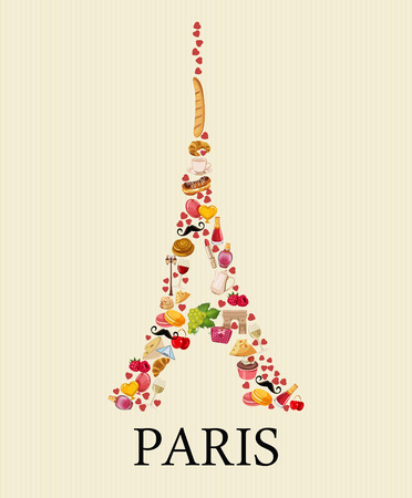 french culture: Vector french poster. Sightseeing of Paris and France. Romantic tourist card in vintage style. French cuisine, wine, fashion and culture. Illustration