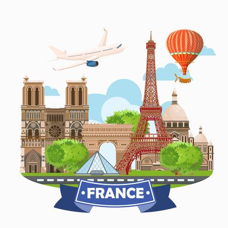 París, Francia destinos de viaje del vector fijadas, elementos gráficos Información para viajar a Francia.