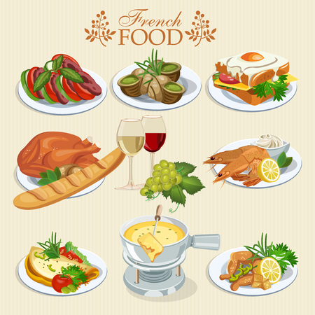french cuisine: Vector set of French cuisine. National food of France. Icons for menu