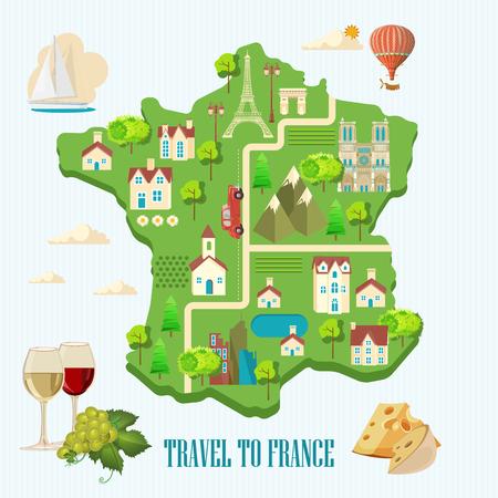travel destinations: Paris,France Vector travel destinations set, Info graphic elements for traveling to France.