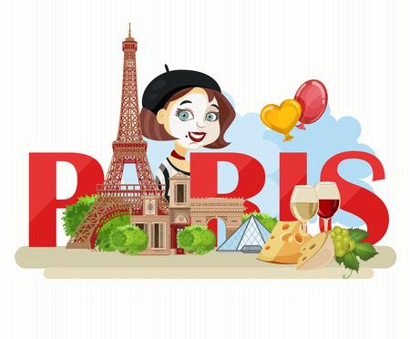 frances: Vector del cartel francés. Más turísticos de París y Francia. tarjeta de turista romántica en el estilo vintage. la cocina francés, el vino, la moda y la cultura.