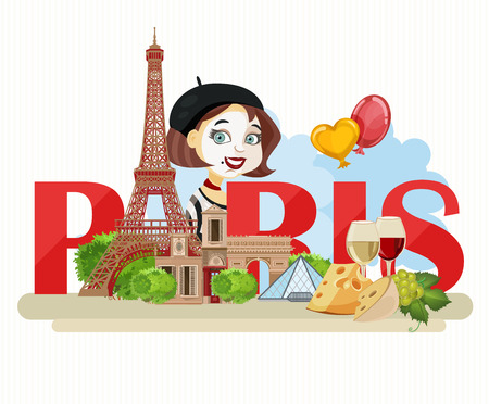 french: Vector french poster. Sightseeing of Paris and France. Romantic tourist card in vintage style. French cuisine, wine, fashion and culture. Illustration