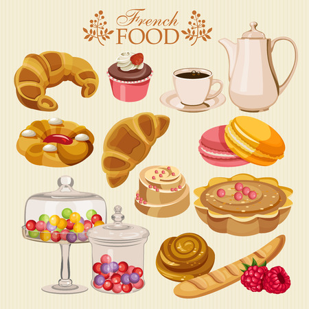 meringue: Vector set of French cuisine. National food of France. Icons for menu