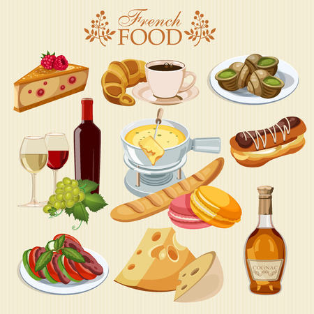Vector set of French cuisine. National food of France. Icons for menu