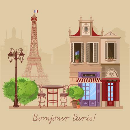 カフェでフランス語村ストリート シーンのベクトル イラスト  イラスト・ベクター素材