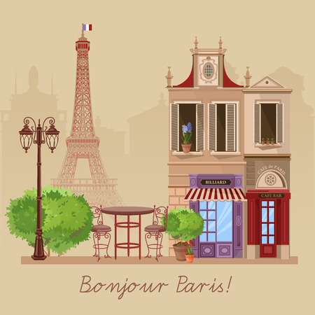 french cuisine: Vector illustration of French village street scene with cafe