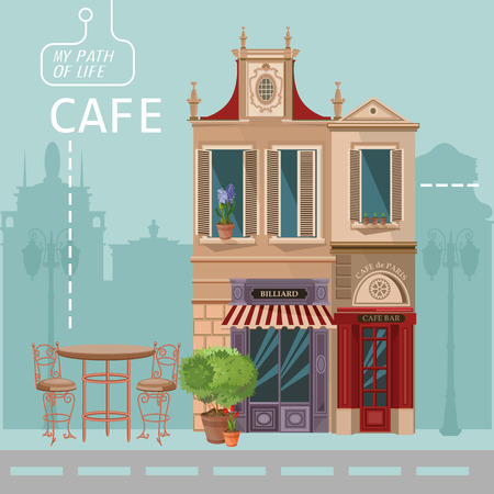 street scene: Vector illustration of French village street scene with cafe