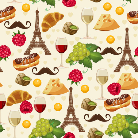 french style: Seamless pattern in french style with food. Background for menu, cafeteria, cafe, restaurant with french cuisine.