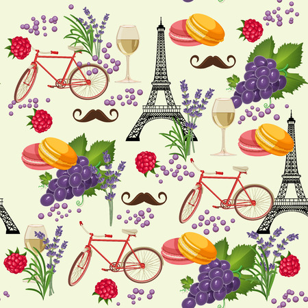 Seamless pattern in french style with food. Background for menu, cafeteria, cafe, restaurant with french cuisine.