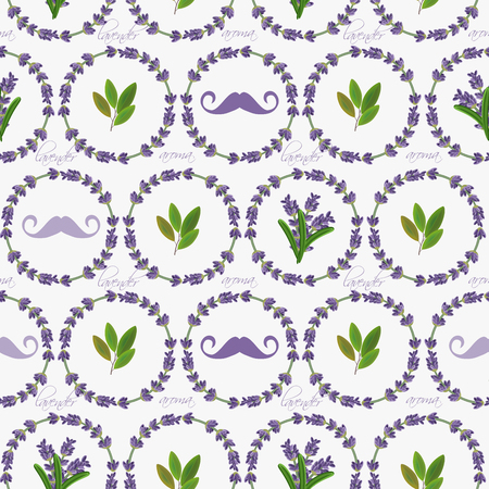 provence: Seamless pattern with lavender flowers. Provence style. Romantic background in french retro design for greeting cards, posters, scrapbook.