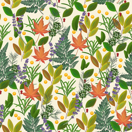 herbal background: Seamless pattern with fresh leaves. Herbal background with plants for textile, wallpaper. Illustration