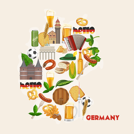 germany: Germany travel poster. Trip architecture concept. Touristic background with landmarks, castles, monuments.