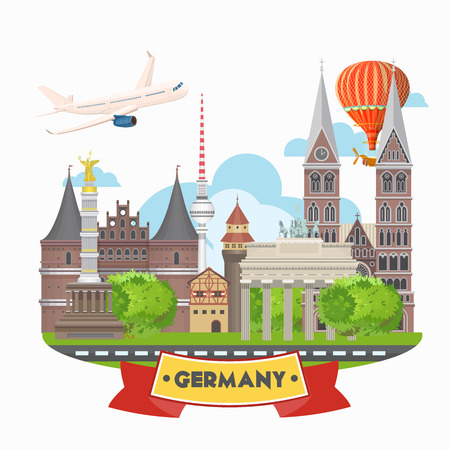 hamburg: Germany travel poster. Trip architecture concept. Touristic background with landmarks, castles, monuments.